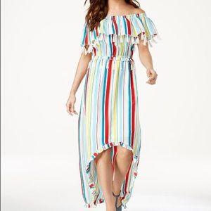 XOXO Striped Tassel-Trimmed High-Low Maxi Dress
